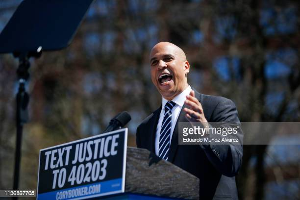 Sen Cory Booker and 2020 presidential candidate speaks to supporters during a campaign event on April 13 2019 in Newark New Jersey The New Jersey...