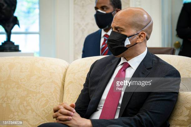 Sen. Cory Booker and fellow members of the Congressional Black Caucus meet with U.S. President Joe Biden and Vice President Kamala Harris in the Oval...