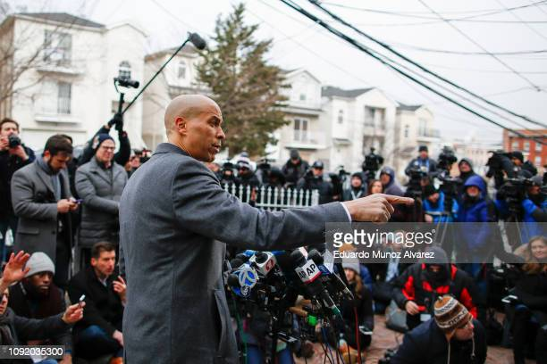 Sen Cory Booker announces his presidential bid during a press conference on February 1 2019 in Newark New Jersey Sen Cory Booker launched his 2020...