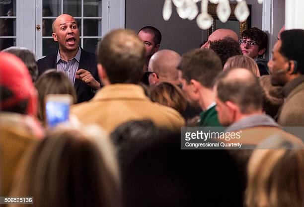 STATES JANUARY 20 Sen Cory Booker DNJ speaks at an organizing event at a private home in Des Moines Iowa Saturday Jan 23 2016 Sen Amy Klobuchar DMinn...