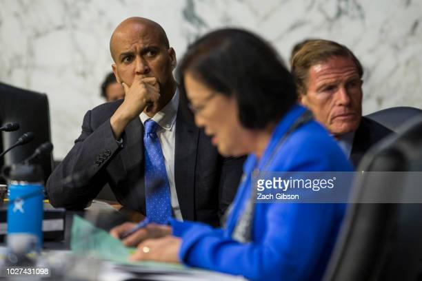 Sen Cory Booker listens as Sen Mazie Hirono questions Supreme Court Nominee Brett Kavanaugh during the second day of his Supreme Court confirmation...