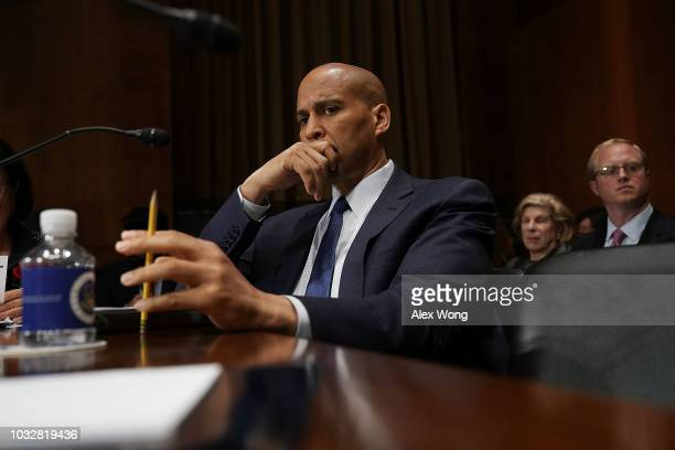 S Sen Cory Booker listens during a markup hearing before the Senate Judiciary Committee September 13 2018 on Capitol Hill in Washington DC A request...