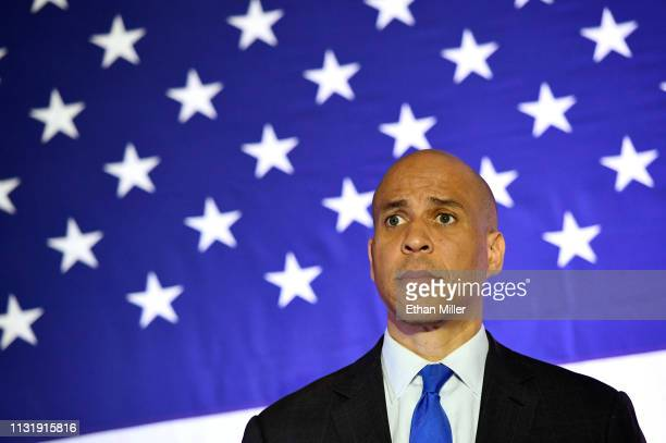 S Sen Cory Booker listens to a question at his Conversation with Cory campaign event at the Nevada Partners Event Center on February 24 2019 in North...