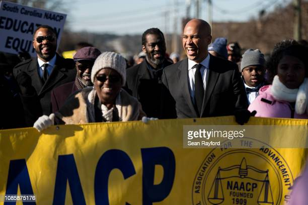 S Sen Cory Booker marches to the Statehouse in commemoration of Martin Luther King Jr Day on January 21 2019 in Columbia South Carolina The South...