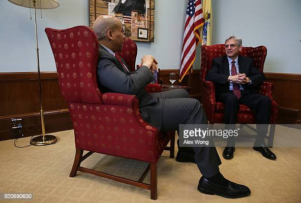 S Sen Cory Booker meets with Supreme Court nominee Merrick Garland chief judge of the DC Circuit Court April 12 2016 on Capitol Hill in Washington DC...