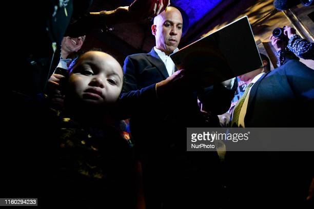 Sen Cory Booker Presidential hopeful for the US 2020 Elections greets voters after a Philadelphia Rise rally at the Fillmore in Philadelphia PA on...
