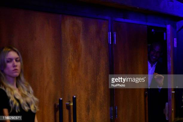 Sen Cory Booker Presidential hopeful for the US 2020 Elections peeks into the room ahead of a rally at the Fillmore in Philadelphia PA on August 7...