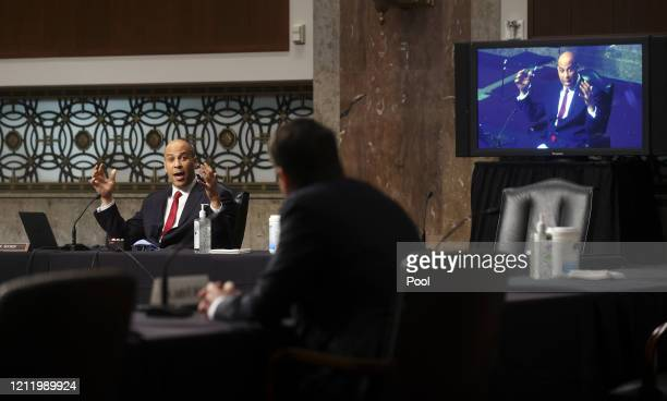 S Sen Cory Booker questions Judge Justin Walker as Booker is broadcast by video link to colleagues attending remotely because of the COVID19 outbreak...