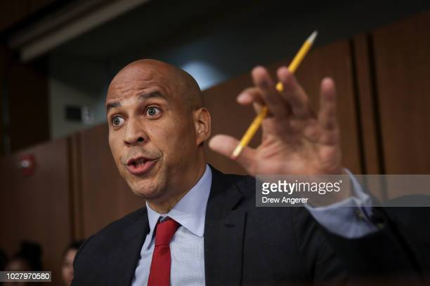 Sen Cory Booker questions Supreme Court nominee Judge Brett Kavanaugh before the Senate Judiciary Committee on the third day of his Supreme Court...