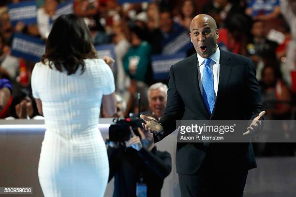 Sen Cory Booker reacts after actress Eva Longoria introduced him on the first day of the Democratic National Convention at the Wells Fargo Center...