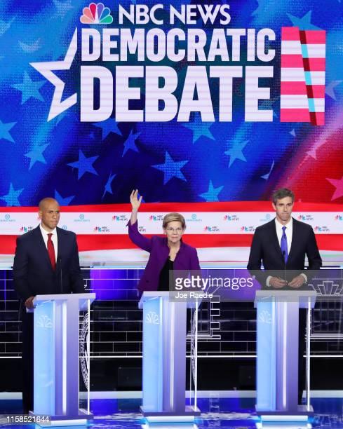 Sen Cory Booker Sen Elizabeth Warren and former Texas congressman Beto O'Rourke take part in the first night of the Democratic presidential debate on...