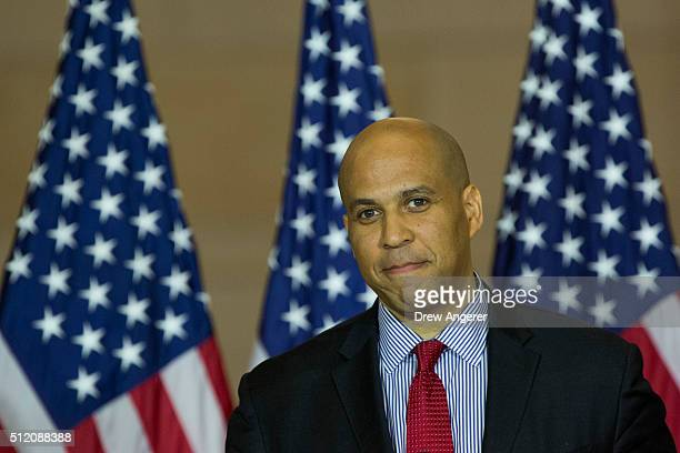 Sen Cory Booker speaks during a Congressional Gold Medal ceremony in honor of 'the Foot Soldiers of the 1965 Voting Rights Marches who peacefully...