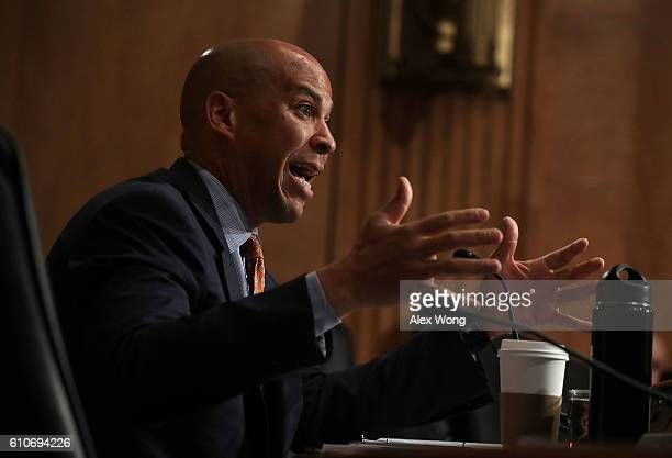 S Sen Cory Booker speaks during a hearing before the Senate Homeland Security and Government Affairs Committee September 27 2016 on Capitol Hill in...