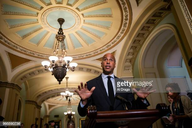 Sen Cory Booker speaks during a news conference following the weekly Senate Democrats policy luncheon on Capitol Hill on July 10 2018 in Washington DC