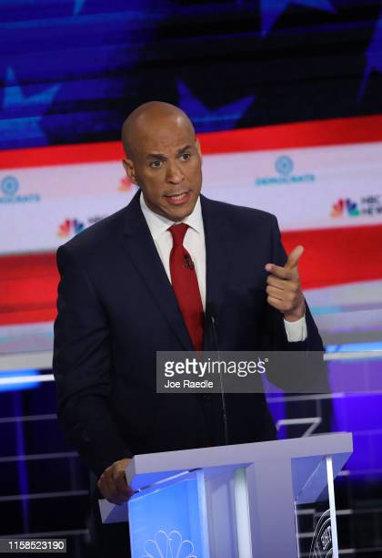 Sen. Cory Booker speaks during the first night of the Democratic presidential debate on June 26, 2019 in Miami, Florida. A field of 20 Democratic...