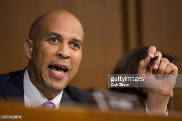 Sen Cory Booker speaks during the second day of Supreme Court Nominee Brett Kavanaugh's confirmation hearing on Capitol Hill September 5 2018 in...