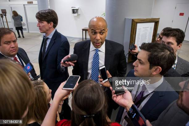 Sen Cory Booker speaks to reporters at the Capitol Building on December 11 2018 in Washington DC