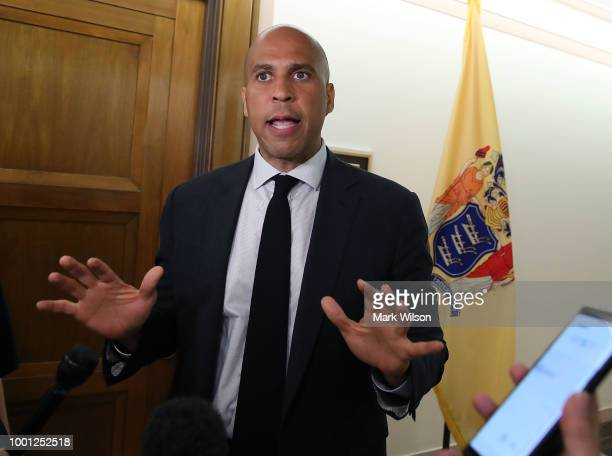 S Sen Cory Booker speaks to the media about a recently released video showing Supreme Court nominee Brett Kavanaugh saying he would put the final...