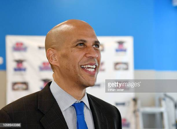 S Sen Cory Booker visits Masterpiece Barber College as he campaigns for Nevada Democratic candidates on October 24 2018 in Las Vegas Nevada Inperson...