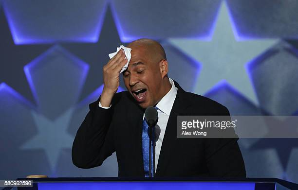 Sen Cory Booker wipes his brow while delivering remarks on the first day of the Democratic National Convention at the Wells Fargo Center July 25 2016...