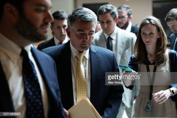 S Sen Cory Gardner arrives at the US Capitol for a closed briefing August 22 2018 in Washington DC Senators attended a closed briefing on election...