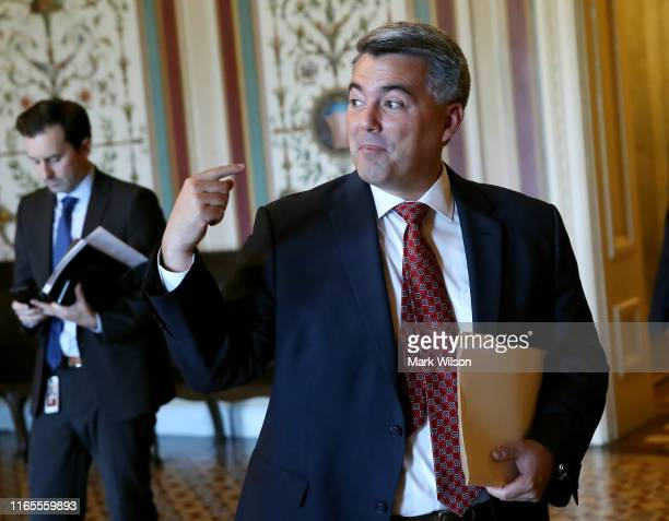 Sen Cory Gardner arrives for a vote on the budget agreement at the US Capitol on August 1 2019 in Washington DC The Senate passed a two year budget...