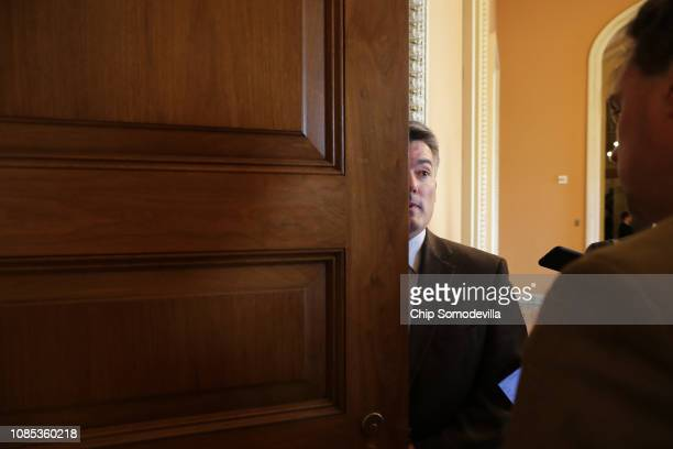 Sen Cory Gardner heads into a Republican caucus lunch meeting at the US Capitol December 21 2018 in Washington DC The US Senate will meet Friday to...