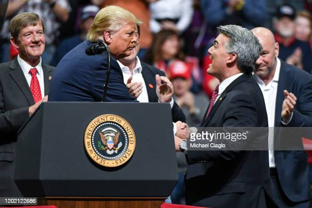 S Sen Cory Gardner joins President Donald Trump on stage during a Keep America Great rally on February 20 2020 in Colorado Springs Colorado Gardner a...