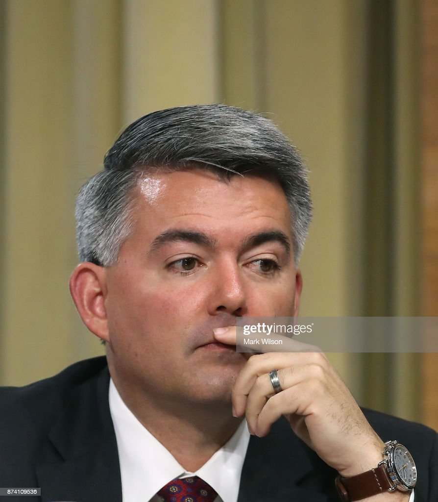 Sen. Cory Gardner (R-CO) listens to testimony during a Senate Energy and Natural Resources Committee hearing on hurricane recovery efforts in Puerto Rico and the US Virgin Islands, on Capitol Hill November 14, 2017 in Washington, DC.