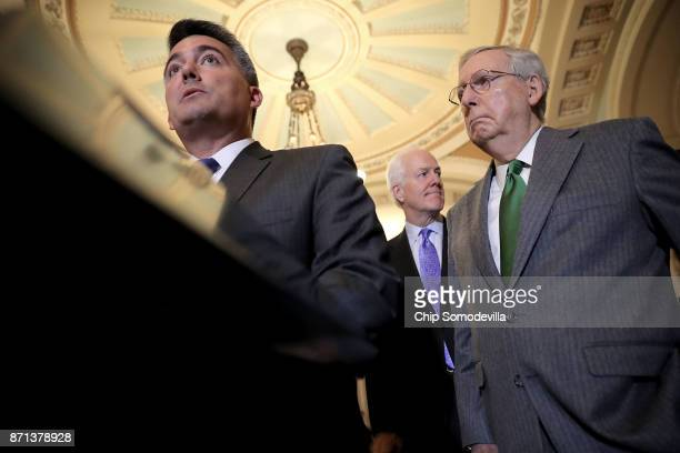 Sen Cory Gardner Majority Whip John Cornyn and Senate majority Leader Mitch McConnell talk to reporters with following the weekly Republican policy...