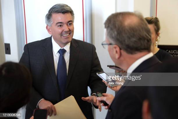 S Sen Cory Gardner speaks to members of the media as he arrives at the weekly Senate Republican Policy Luncheon March 17 2020 at Russell Senate...