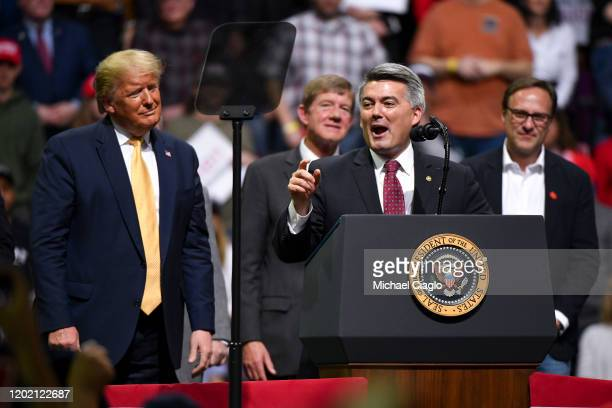 S Sen Cory Gardner speaks with President Donald Trump on stage during a Keep America Great rally on February 20 2020 in Colorado Springs Colorado...