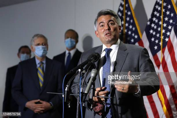 Sen Cory Gardner talks to reporters following the weekly Senate Republican policy luncheon in the Hart Senate Office Building on Capitol Hill June 09...