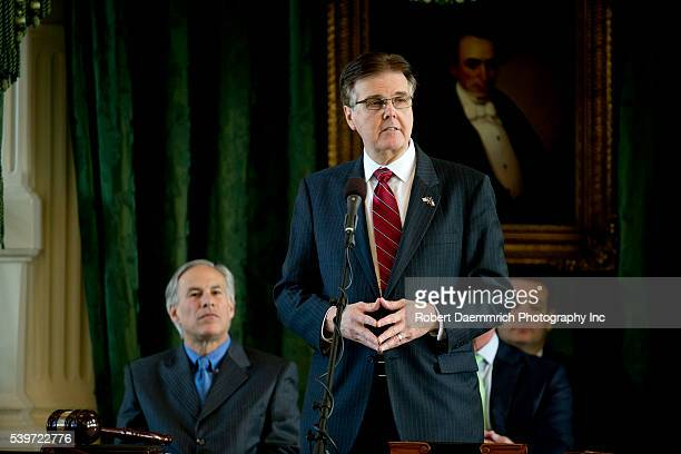 Sen Dan Patrick of Houston speaks in the Texas Senate chamber where he will take over as Lt Governor of Texas on January 12 2015 as incoming Governor...