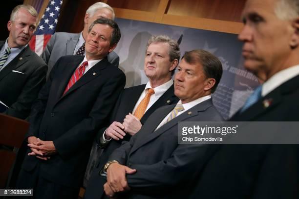 Sen Dan Sullivan Sen Luther Strange Sen Steve Daines Sen John Kennedy Sen Mike Rounds Sen Thom Tillis and other Republican senators hold a news...