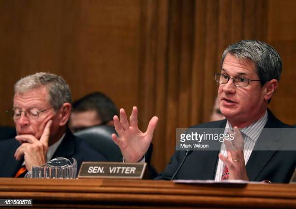 Sen David Vitter questions EPA Administrator Gina McCarthy while Sen James Inhofe listens during a Senate Environment and Public Works Committee on...