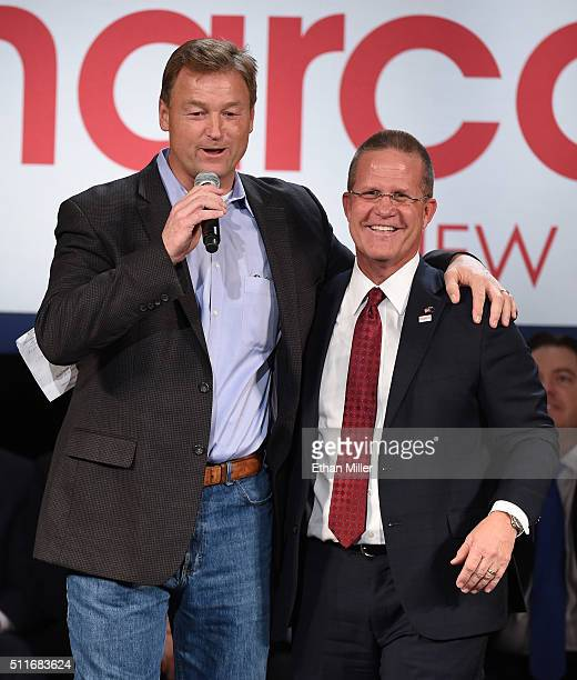 Sen. Dean Heller and Nevada Lt. Gov. Mark Hutchison speak during a rally for Republican presidential candidate Sen. Marco Rubio at a rally at the...