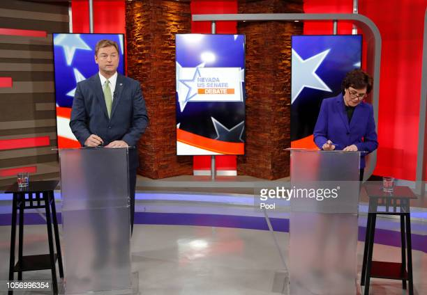 Sen. Dean Heller and U.S. Rep Jacky Rosen prepare for their debate at KLAS Channel 8 Studios on October 19, 2018 in Las Vegas, Nevada. Rosen is...