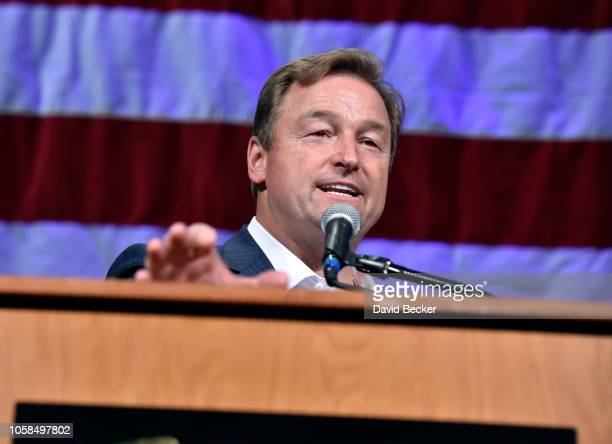 Sen. Dean Heller concedes his race against U.S. Rep. Jacky Rosen at the Nevada Republican Party's election results watch party at the South Point...