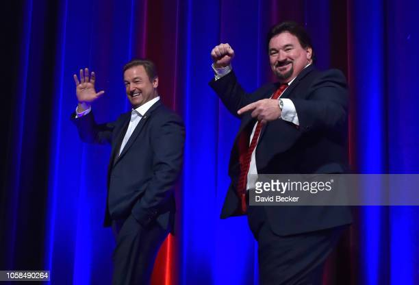 Sen. Dean Heller is escorted off stage by Nevada Republican Party Chairman Michael J. McDonald after speaking at the Nevada Republican Party's...