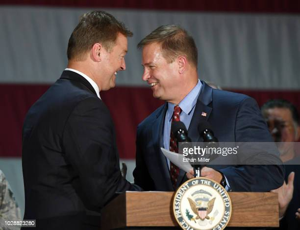 Sen. Dean Heller is introduced by Acting Deputy Secretary of Veterans Affairs James Byrne before a talk by U.S. Vice President Mike Pence at Nellis...