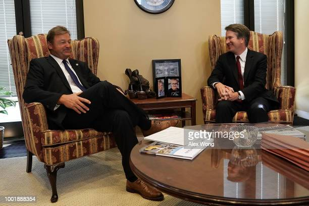 S Sen Dean Heller meets with Supreme Court nominee Judge Brett Kavanaugh in his office on Capitol Hill July 18 2018 in Washington DC Kavanaugh is...