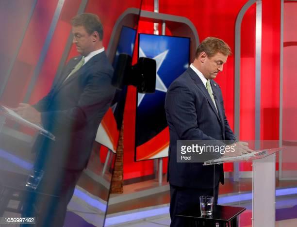 Sen. Dean Heller prepares for his debate with U.S. Rep Jacky Rosen at KLAS Channel 8 Studios on October 19, 2018 in Las Vegas, Nevada. Rosen is...