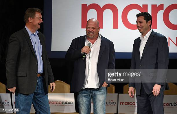 """Sen. Dean Heller , Rick Harrison from History's """"Pawn Stars"""" television series and U.S. Rep. Jason Chaffetz attend a rally for Republican..."""