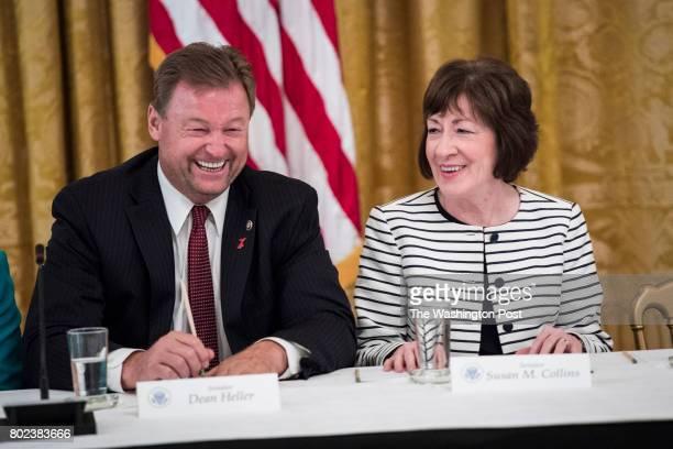 Sen Dean Heller RNev and Sen Susan Collins RMaine talk before President Donald Trump arrives for a meeting with Republican senators about health care...