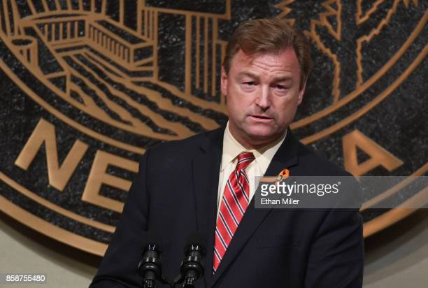 Sen. Dean Heller speaks at the culmination of a faith unity walk, held to help the community heal after Sunday's mass shooting, at Las Vegas City...