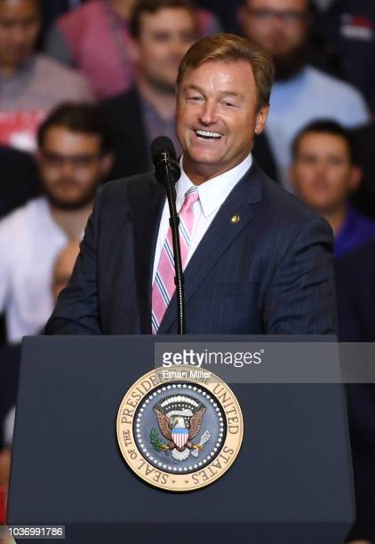 S Sen Dean Heller speaks during a Donald Trump campaign rally at the Las Vegas Convention Center on September 20 2018 in Las Vegas Nevada Trump is in...