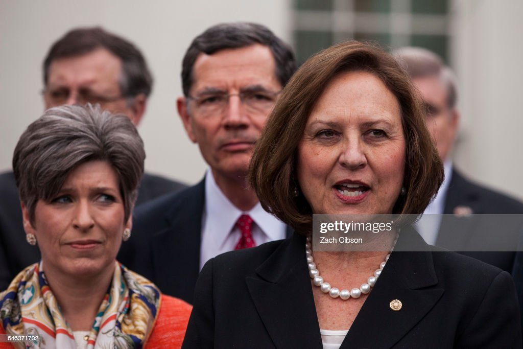 Sen. Deb Fischer (R-NE) speaks to the press after President Trump signed an executive order aimed at undoing former President Barack Obama's Clean Water Rule at The White House on February 28, 2017 in Washington, D.C.