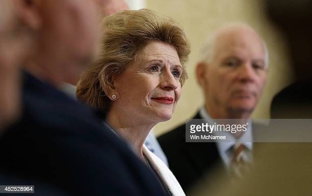S Sen Debbie Stabenow joined by workers from the UAW and the United Steelworkers speaks at a press conference about the 'Bring Jobs Home Act' at the...