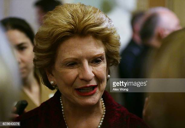 S Sen Debbie Stabenow speaks to members of the media after an election meeting of Senate Democrats to elect new leadership at the Capitol November 16...